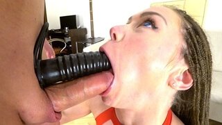 College Teen Gets Double Penetration with Dildo with Anal Creampie. Mia