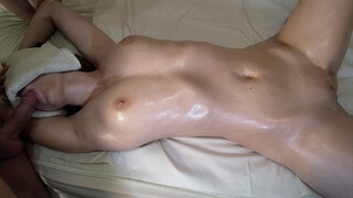 Sensual Oiled Massage, Blowjob and Missionary Creampie