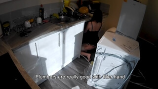 Horny Wife Seduces Plumber in the Kitchen while Husband at Work