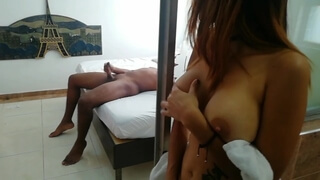 Naughty Mom Spying on her Stepson and he Produces an Intense Orgasm