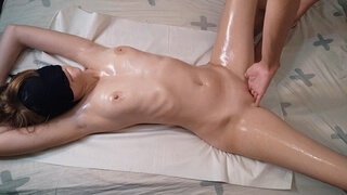 Erotic Oiled Massage, Blowjob, Fingering, Oil Side Fuck and Missionary Cumshot, Cum Rubbing