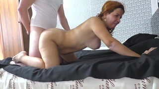 Anal Sex of a Mature Mom and Stepson. Big Ass Lady Loves Cum in Ass