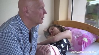 Grandpa Wakes Up Babe with His Cock