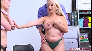 Blonde young daughter Natalie Knight and her big tits mom Kylie Kingston fucked by big dick officer