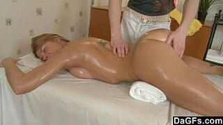 Lucky dude fucks nice chick during a massage