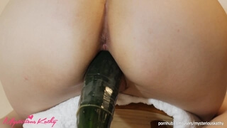 FUCKING MY PUSSY WITH a HUGE CUCUMBER