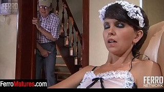 Sexy mature in slutty French maid uniform gets banged after oral foreplay