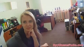 Russian babe on sypcam fucks to get job