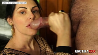 Hot milf sucks thick cock and takes cumshot on face