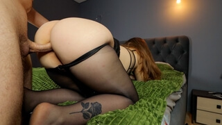 Fucked a Big Ass Girlfriend in Pantyhose and Cum on her Legs - Foot Fetish