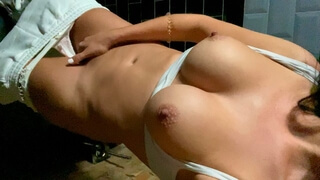 Big Tits Girl Masturbating in Public Toilet! Rate my Game Pussy