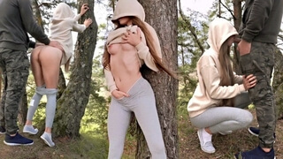 ATHLETIC GIRL SUCKED IN THE FOREST AND GET FUCKED