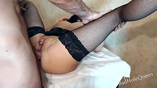 The sister asked the neighbor to fuck her in anal and cum in her mouth so that she would swallow