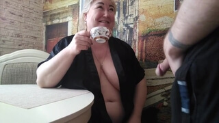 The Tea Party Ended with a Deep Blowjob and a Mouthful of Cum