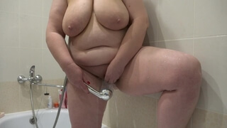 Masturbation in the Shower, Mature BBW with Large Boobs