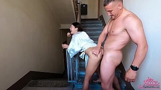 Husband Public Hard Fuck Neighbor On Staircase While Wife Rested