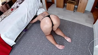 Mom was on her knees with only thongs and stepson fucked in anal