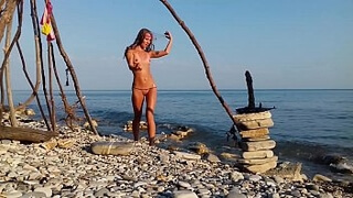 COMPILATION TRAVEL NUDE - RUSSIAN SLUT NUDIST GIRL SASHA BIKEYEVA