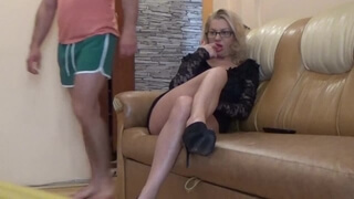 Hot Stepmom Fucking her self with her Stepson in the House