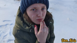 Winter Sex on a Car with a Blue-eyed Beauty in a Jacket, Loves to do Blowjob, Cum on Face and Clothe