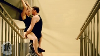 Horny Couple Fucking in the Stairwell