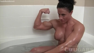Seyx Brunette Bodybuilder Poses in the Bath. Big Natural Muscle.