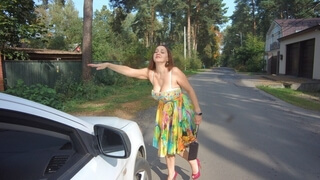 Alina Tumanova/ Deepthroat in Taxi/ Beautiful Woman's Reaction to Harassment