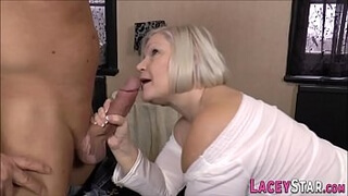 Busty granny sucks and gets doggystyled