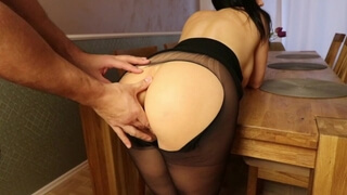 Nylon Cunt Torn Open. Hot MILF with Nylon was Fucked