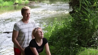 A Slut Girl in Beautiful Nature has her Mouth Full of Sperm and is Happy / Free