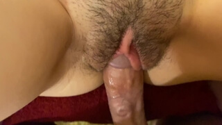 Close up Vibrator Orgasm Ends with Creampie in my Hairy Pussy