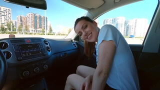 She Loves to Suck Dick in the Car and Swallow Cum.