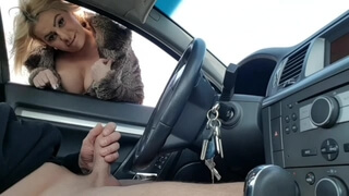 Public Handjob-stranger Fingering my Dick in the Car in Public Parking