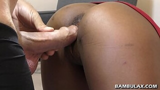 Young ebony butt fucked and cum inside