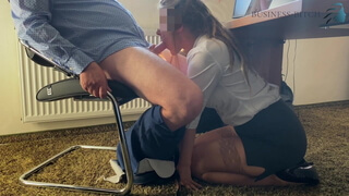 Trainee gives boss a blowjob under the desk - business-bitch