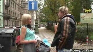 Granny prostitute fucked hard by young cock