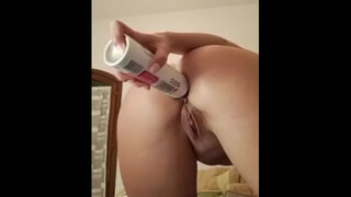 Horny Girl Shoves a Big Bottle up her Ass and Squirts everywhere
