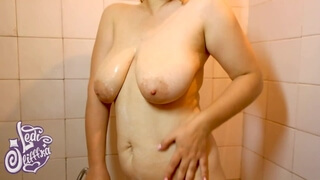 Busty Neighbor Cums from a Jet of Water