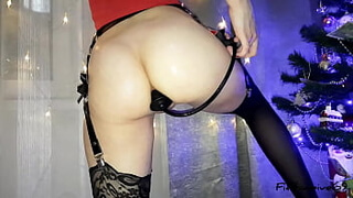 Christmas anal fisting of a stretched ass from a beautiful girl