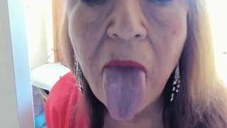 Tongue Cleaning Nasty Dirty Window, Mature Woman Tongue Fetish