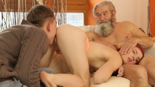 DADDY4K. Boy and his Bearded Father Team up to Innocent Cutie