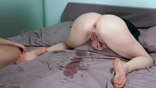 nun gets fucked in the ass. This bitch squirts from anal