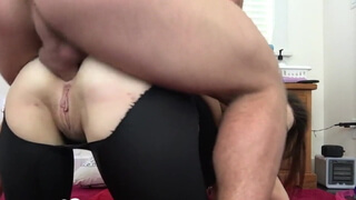 He fucks my ass in doggy and busts a nut