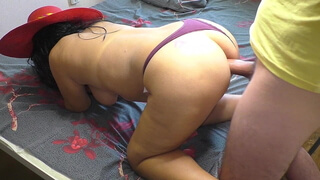 Mature mom with a big ass has anal sex with her stepson