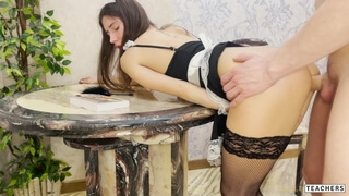 Fucking the Holes of my Beautiful Maid on the Table.
