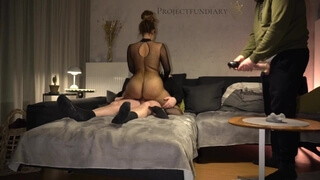Amateur Couple Fucking while their Cuckold Friend is Watching