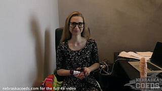 19yo areana fox in my office with a rather large dildo and finger in her ass