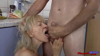 Old skinny granny fucked in the kitchen