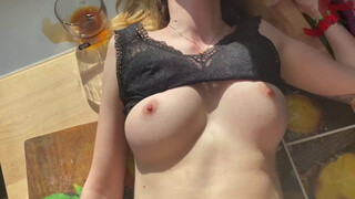 Courier girl loves viagra and sex on the table.