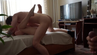 Husband Cuckold Watches and Masturbates as his Wife Gets Fucked by a Tinder Guy and Cums
